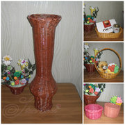 Разнообразные плетёные изделия: корзинки вазы